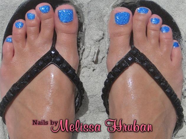 Simple Electric Blue Toe Glitter Nail Art