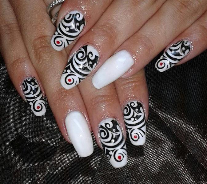 White And Black Tribal Nail Art Design Idea