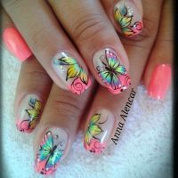 Amazing Butterflies And Flowers Nail Art Design Idea