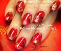 Bamboo Print On Red Nails Chinese Nail Art