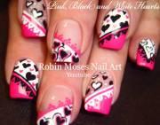 stylish pink heart nail