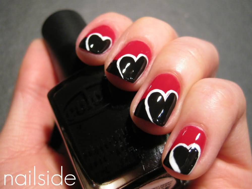 Black And Red Color Heart Nail Art