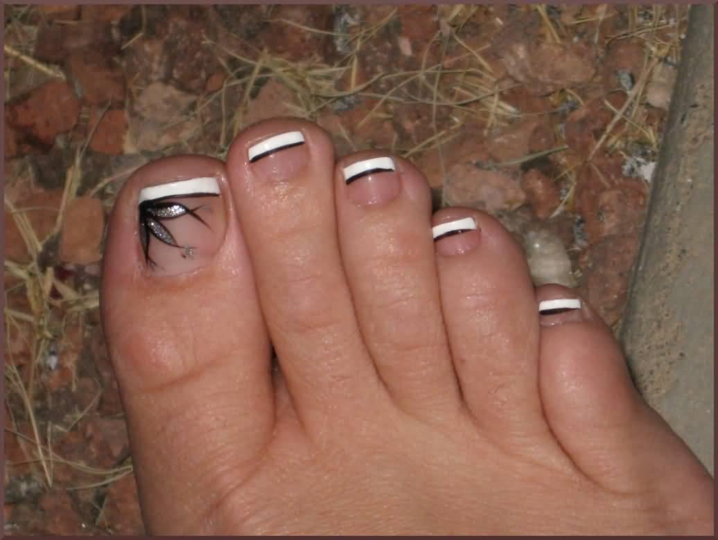 Black And White French Tip Toe Nail Art Design Idea