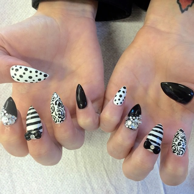 Black And White Sharp Nails Art With 3d Bow Rhinestones