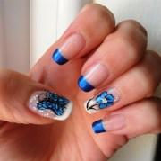 blue butterfly nail art design