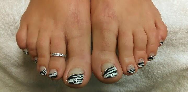French Tip Zebra Print Black And White Toe Nail Art Design Idea