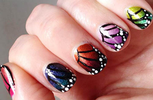 Multicolored Erfly Wings Nail Art Design