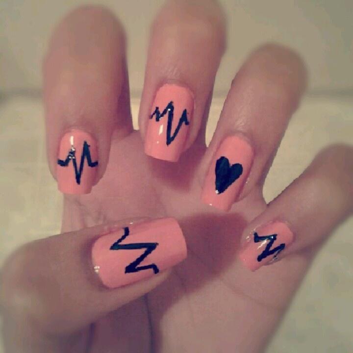 Peach Nails With Heartbeat Nail Art Design Idea