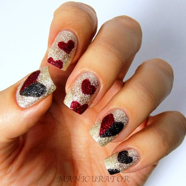 Silver Glitter Nails With Red Hearts Nail Art
