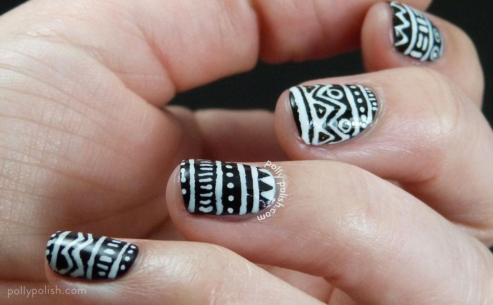 White And Black Tribal Design Nail Art