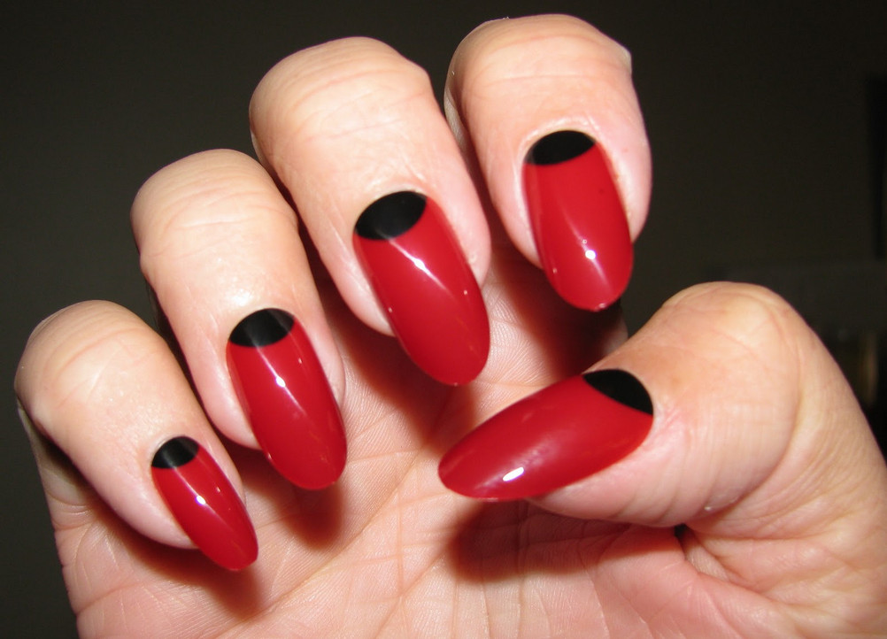 Cute Red Nails With Black Half Moon Nail Art