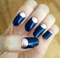 Grey And Orange Half Moon Nail Art Design Idea