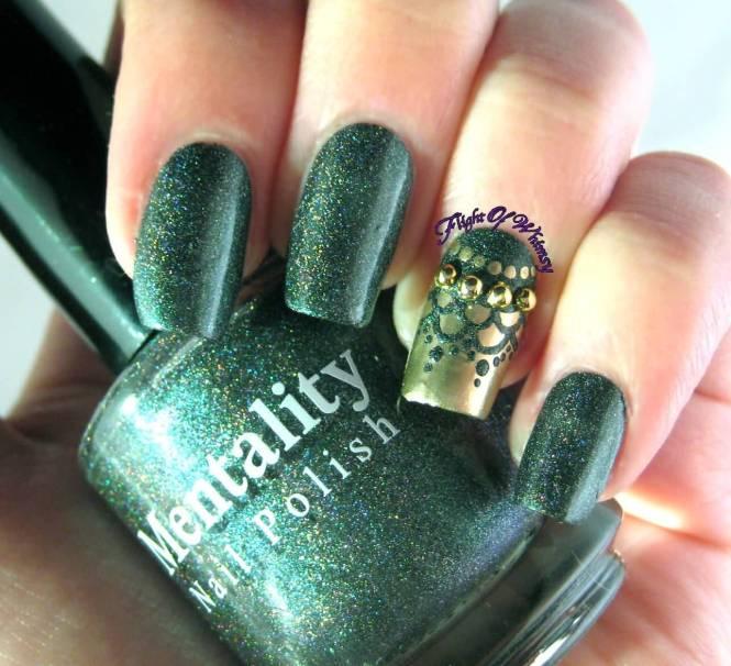 Gold And Green Leopard Print Nail Art