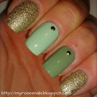 Green And Gold Nail Art By Ewa