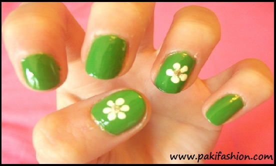 Green Nails With White Flowers Art