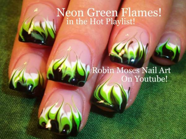 Stylish Green And Black Nail Art Design Ideas