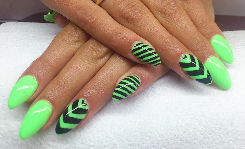 Neon Green And Black Stripes Chevron Design Nail Art
