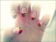 green and pink nail art