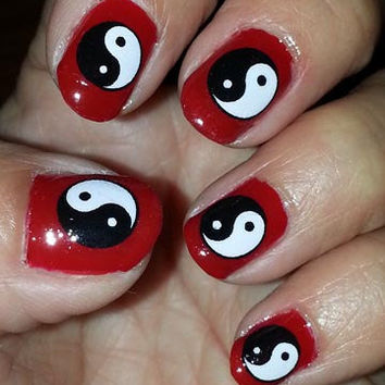 Red Base Nails With Black And White Yin Yang Design Chinese Nail Art