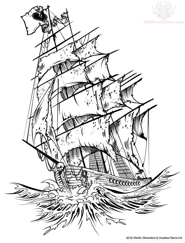 Back Tattoos Pirate Old Style Ship