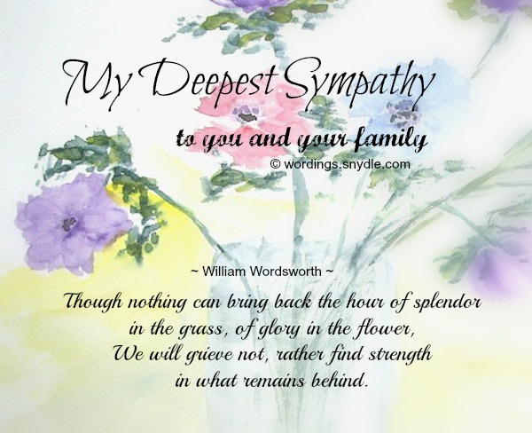 And Sympathy Our Family Your You Condolences And Deepest