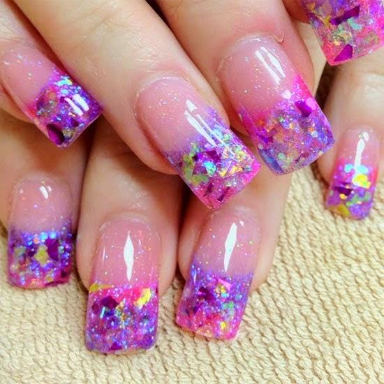 Purple And Pink Glitz Acrylic French Tip Nail Art