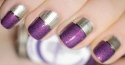 purple and silver nail art