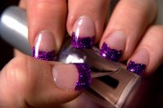 cool purple glitter nail art