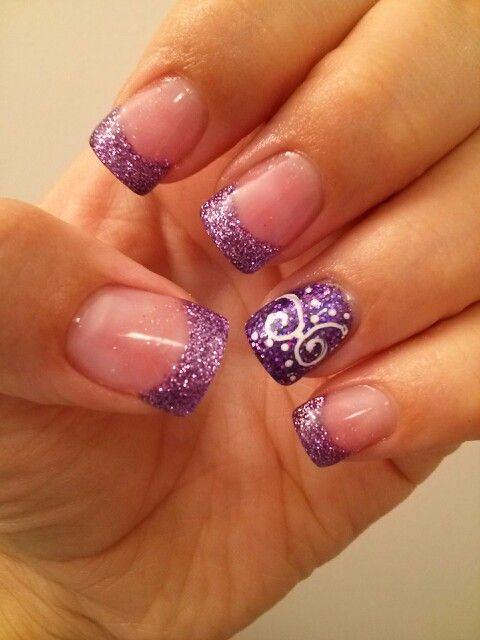 Purple Glitter Tips Nail Art