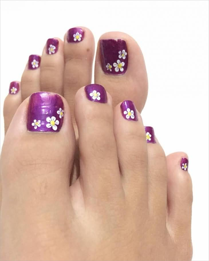 Purple Nails With White Flowers Nail Art