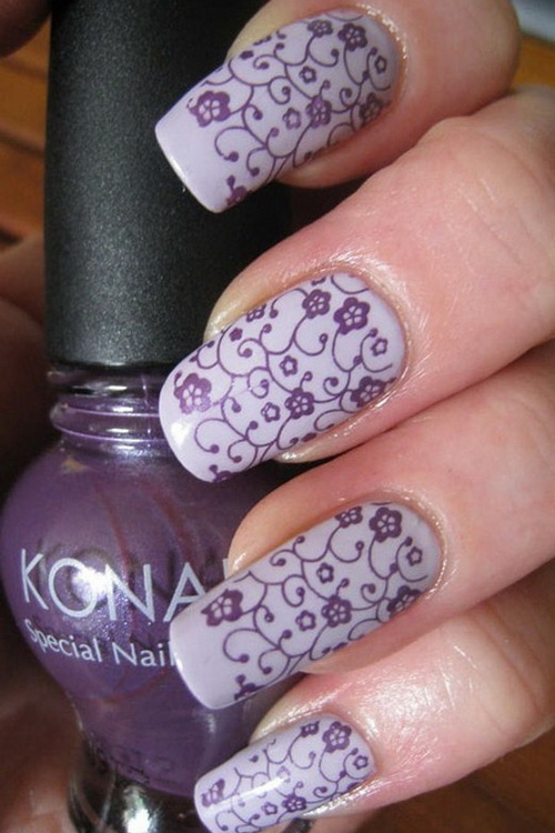 White Nails With Purple Flowers Nail Art