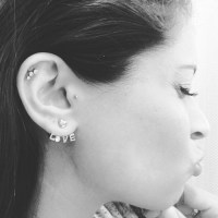 Love Stud Ear Lobe And Tragus Piercing With Small Stud