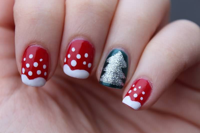 Acrylic Red And White With Accent Glitter Christmas Tree Short Nail Art