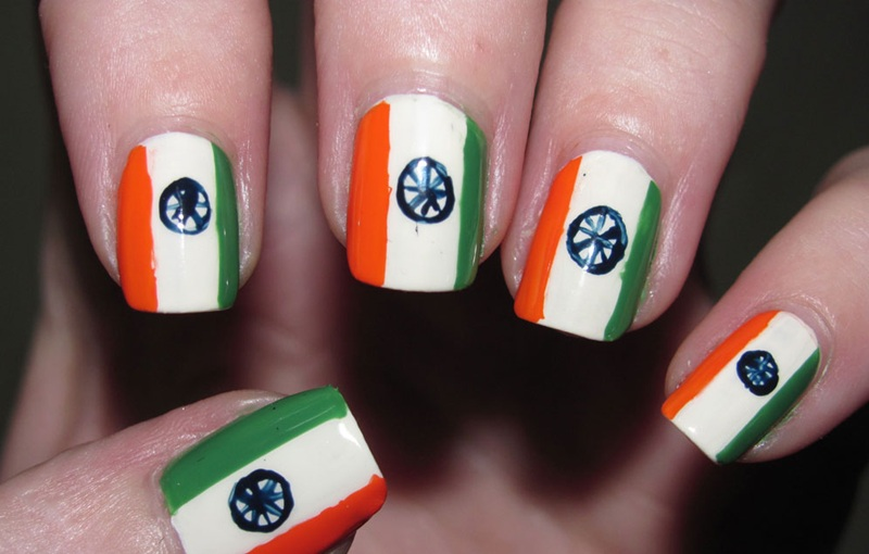 Amazing Indian Flag Nail Art