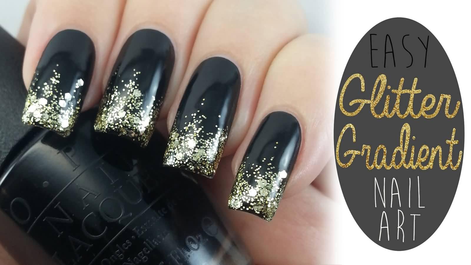 Black And Gold Glitter Grant Nail Art Tutorial
