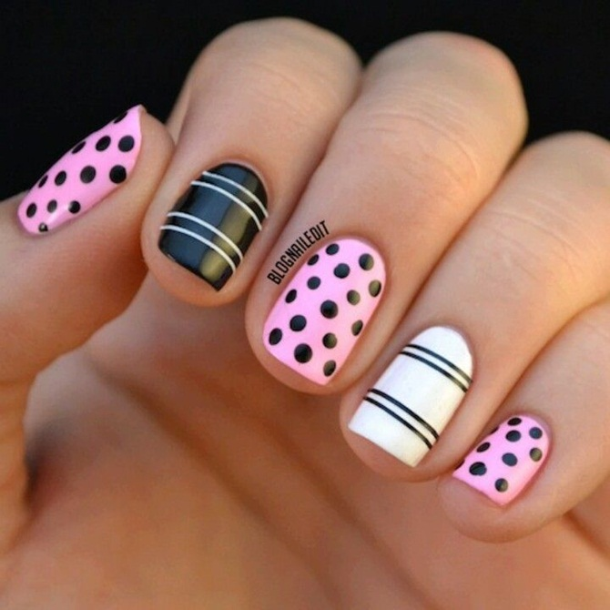Black And Pink With Accent White Acrylic Short Nail Art Design