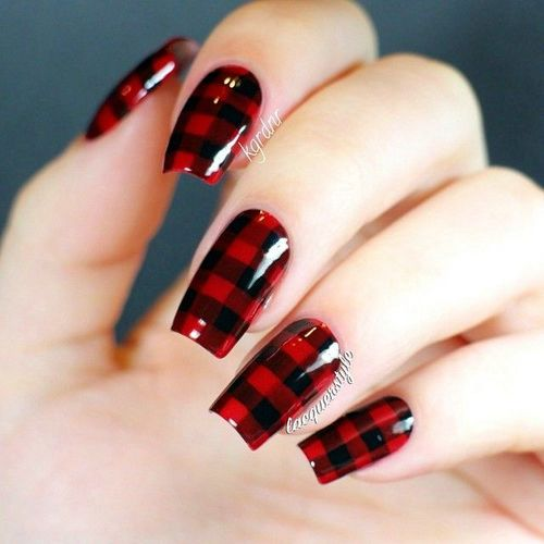 Black And Red Plaids Design Nail Art
