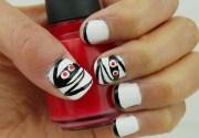 classy white short nail art