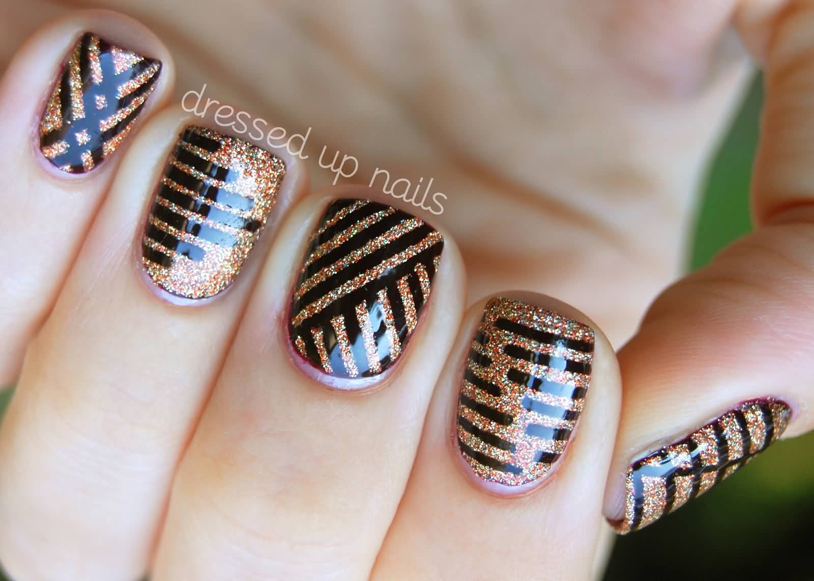 Blue Nails With Silver Striping Tape Nail Art Design