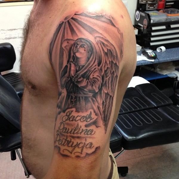 cute praying angel tattoos