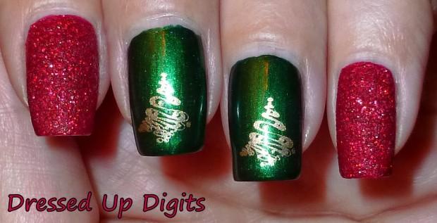 Green Nails And Golden Christmas Tree Nail Art
