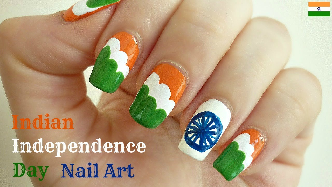 Indian Independence Day Flag Nail Art With Tutorial