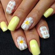 yellow and white nail art design