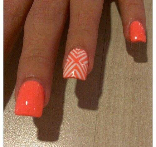 Neon Orange Lines Design Nail Art