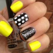 trendy neon yellow nail art