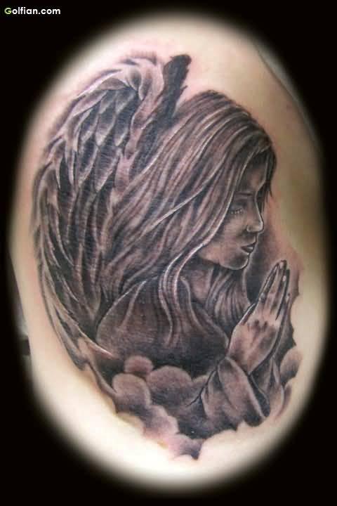 praying angel tattoo design