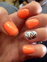 stylish orange nail art design