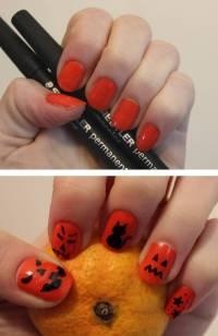 60 Stylish Orange And Black Nail Art Design Ideas