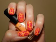 beautiful orange nail art