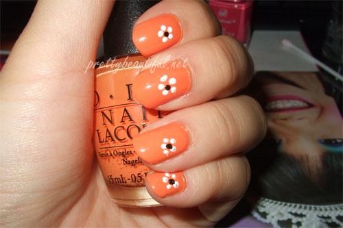 Orange Nails With White Flowers Nail Design Idea